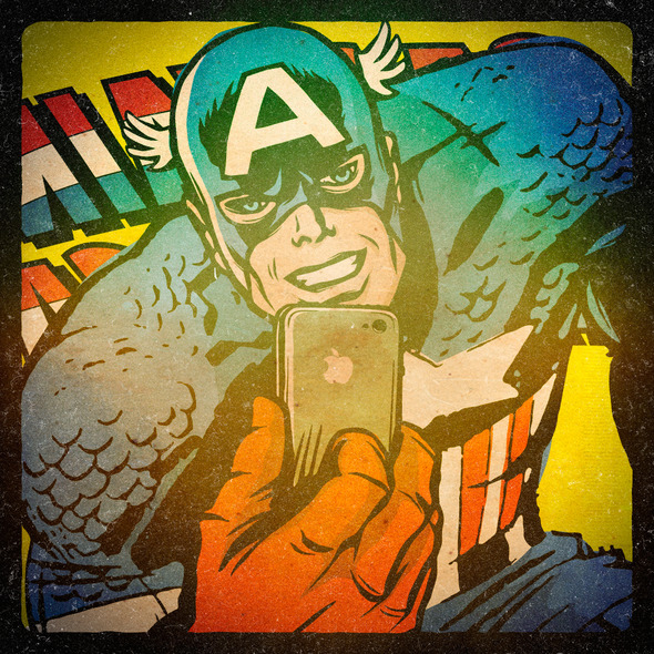 Heróis da Marvel tirando super selfies