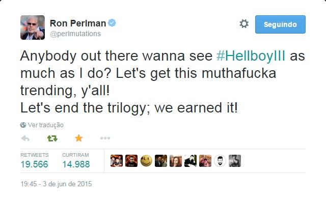 Hellboy   Ron Perlman pede ajuda aos fãs para produzirem o terceiro filme da franquia