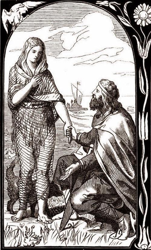 Ragnar e Aslaug, segundo a lenda.