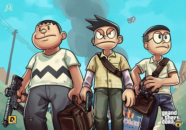 Doraemon | Artes feitas por fã colocam personagens do anime dentro do jogo GTA V