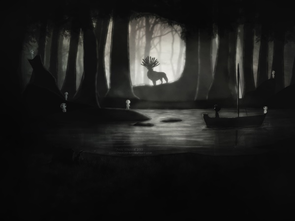 Ilustrações dos personagens do Estúdio Ghibli no cenário do jogo Limbo