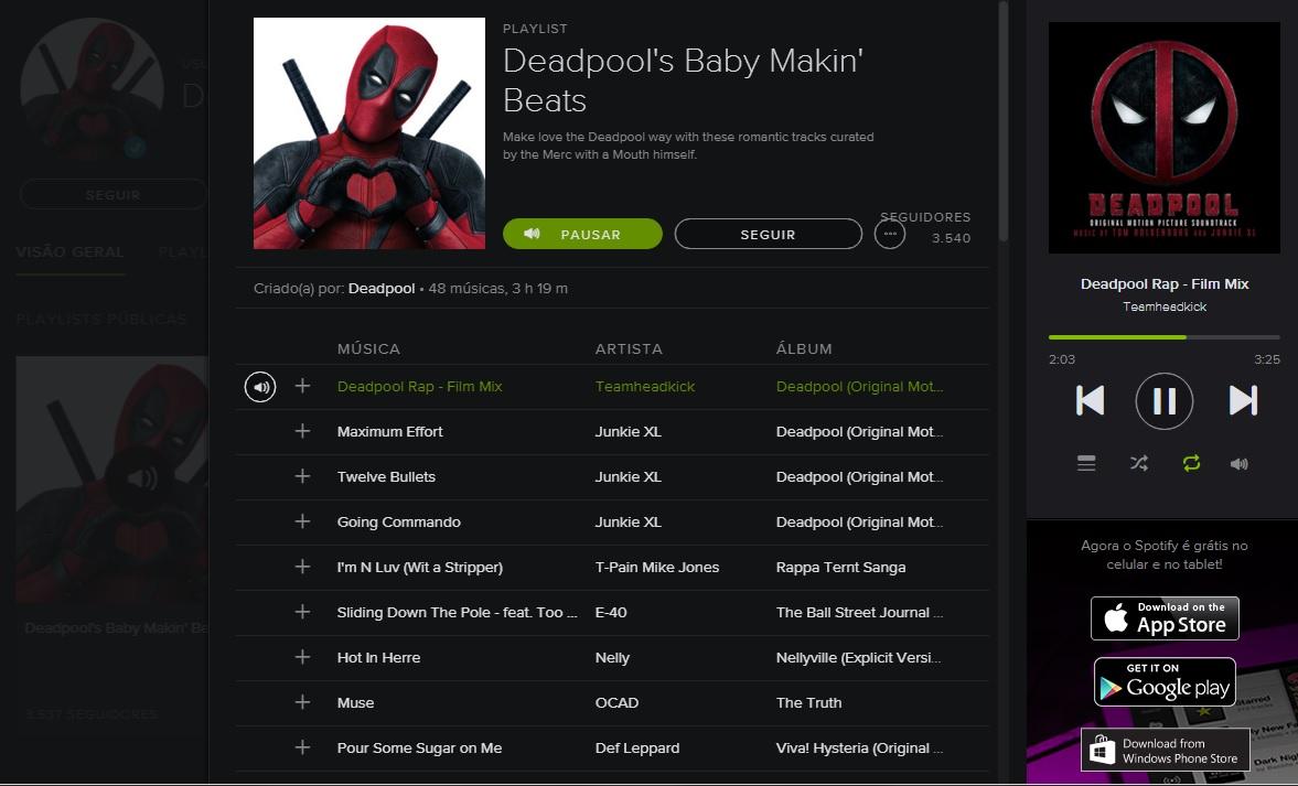 Deadpool | Mercenário Tagarela compartilha sua playlist em conta oficial no Spotify