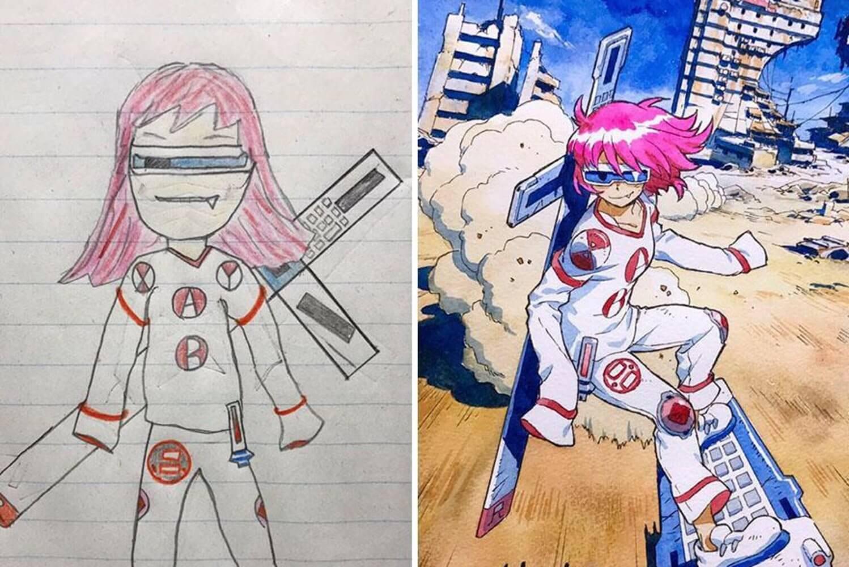 Pai transforma desenhos dos filhos em animes